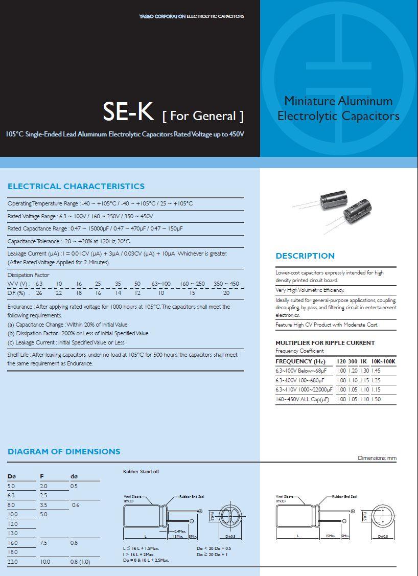 ELKO 1500uF 16V 105°C 12x20 álló 1500/16P-105 -