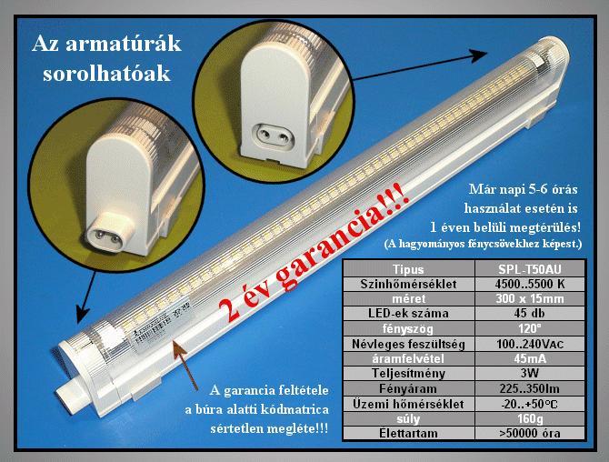 100..240V 3W LED T5 fénycső F LAMP LED T5W3W