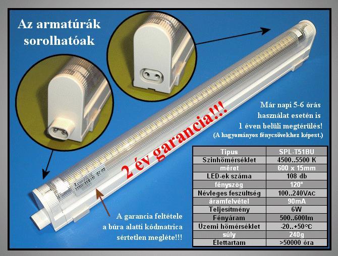 100..240V 6W LED T5 fénycső F LAMP LED T5W6W