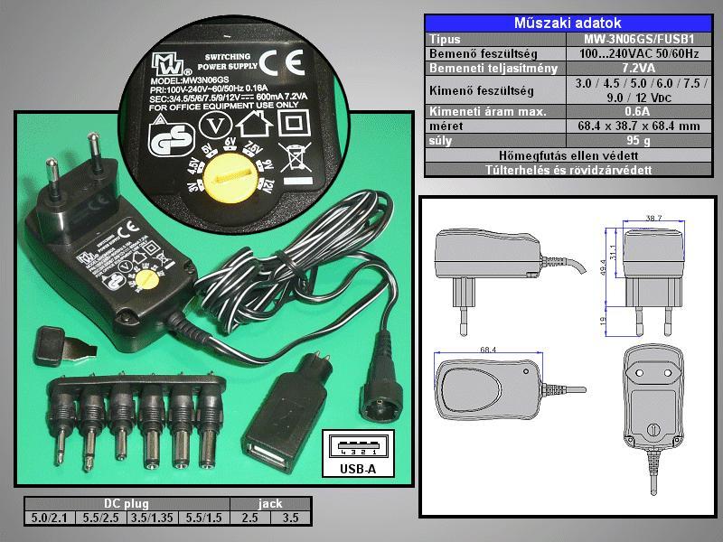 110...240VAC stabilizált tápegység 3...12VDC 600mA 7.2W P.SUP.0600+USB
