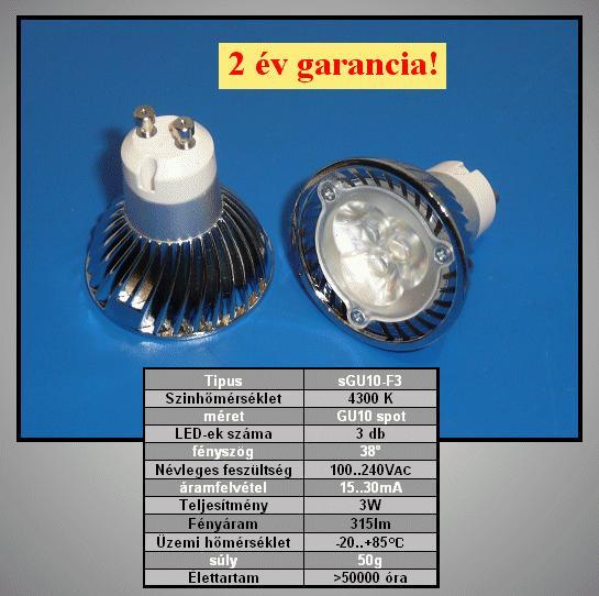 240V 3W LED lámpa GU10/F LAMP LED GU10F3W