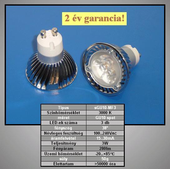 240V 3W LED lámpa GU10/MF LAMP LED GU10MF3W