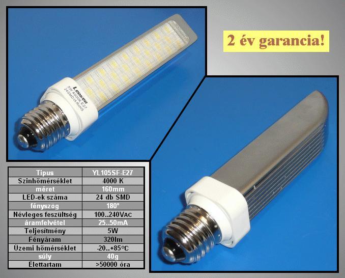 240V 5W LED lámpa E27 természetes fehér LAMP LED E27W5W