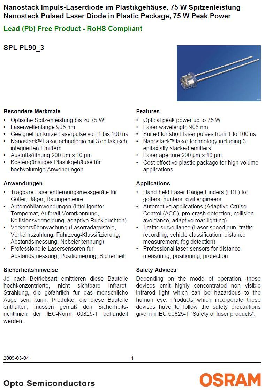 HIGH POWER P.lézer dióda 75W 905nm LE DH075-905