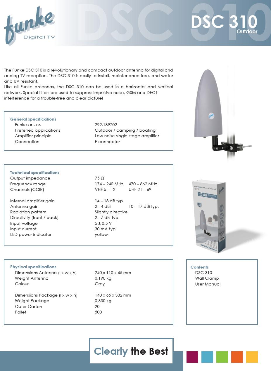 VHF-III/UHF DVB-T Kültéri antenna erősítővel ANT DSC310