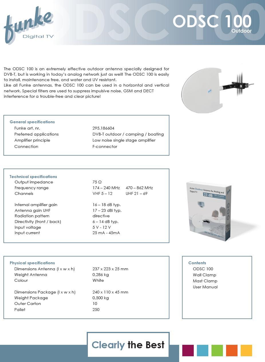 UHF DVB-T Kültéri antenna erősítővel és Beépített szűrővel ANT ODSC100