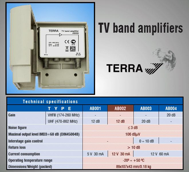 Antenna erősítő 470-862MHz 12dB ANT AMP AB002