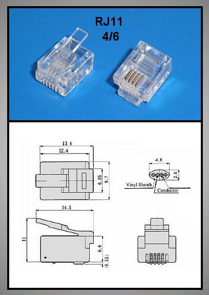Telefon dugó 6/4 (RJ11) Maxi (kerek kábelhez) CSAT-T002