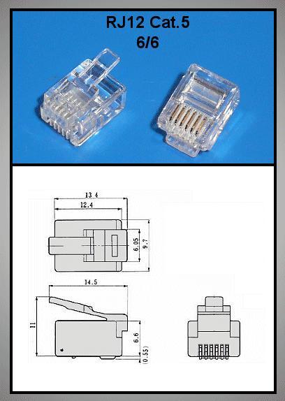 Telefon dugó 6P6C (RJ12) Maxi (lapos kábelhez) CSAT-T003 F