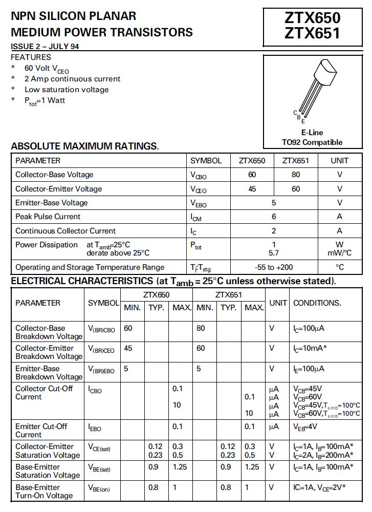 SI-N 60/45V 2A 1W 175MHz Cobo:30pF ZTX650 -