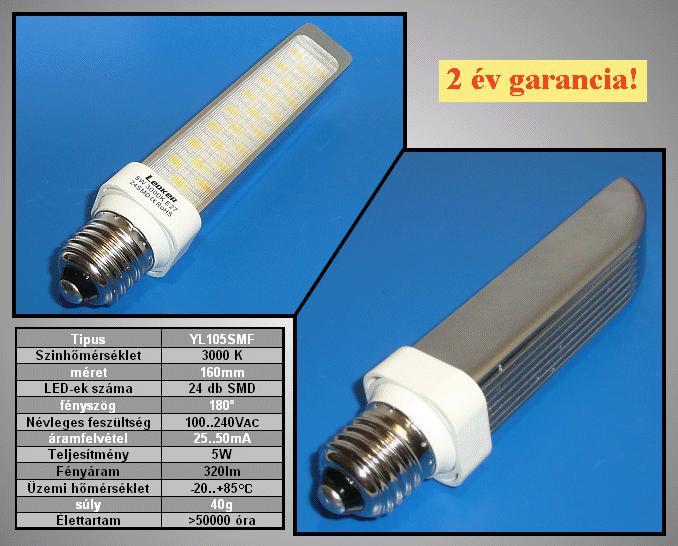 240V 5W LED lámpa E27 meleg fehér LAMP LED E27WW5W