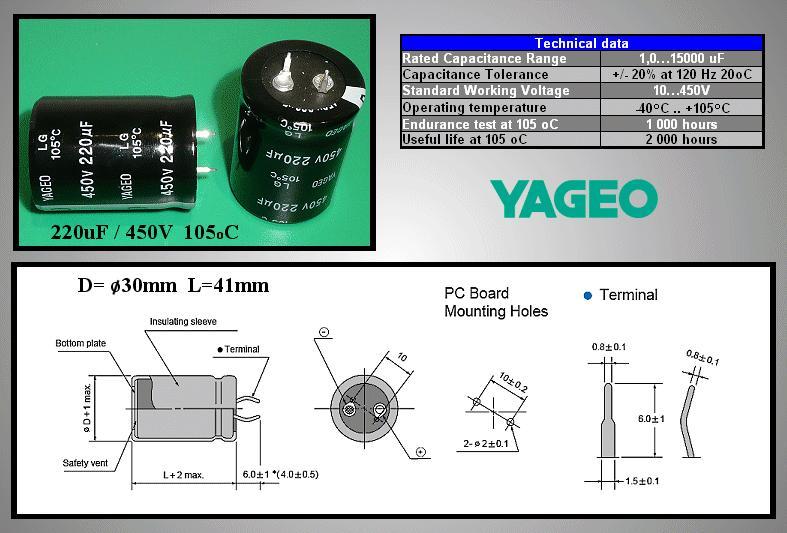 ELKO 220uF 450V 105°C 30x40 Snap-in 220/450P-105 Y -