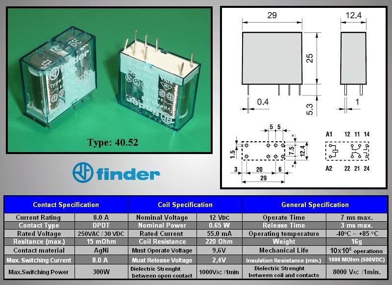 Relé 2x250V 8A/15A 12VDC, 40,52,9,012,0000 RELAY-405290120000