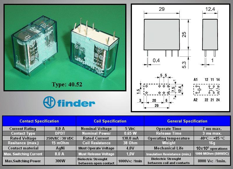 Relé 2x250V 8A/15A 5VDC, 40,52,9,005,0000 RELAY-405290050000