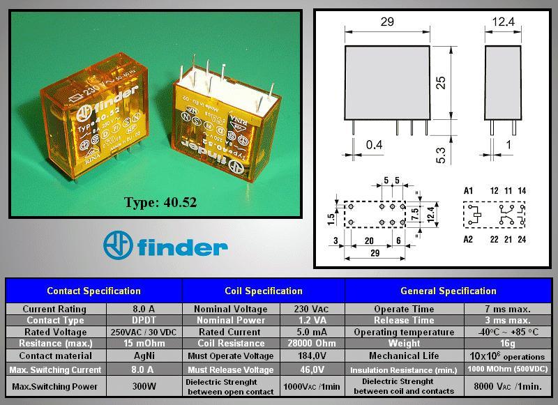 Relé 2x250V 8A/15A 230VAC 40.52.8.230.000 RELAY-405282300000