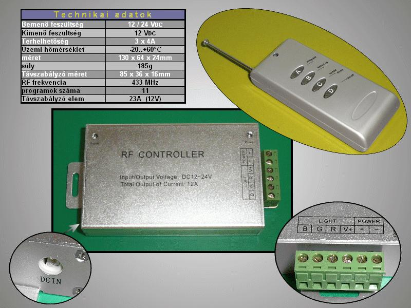 RGB LED szalag vezérlő (RF Controller) 12V RIBBON-CONTR01