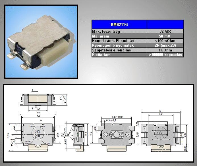 SMD mikrokapcsoló 4.2x2.8mm 4p g.0.6 SW1000S42A