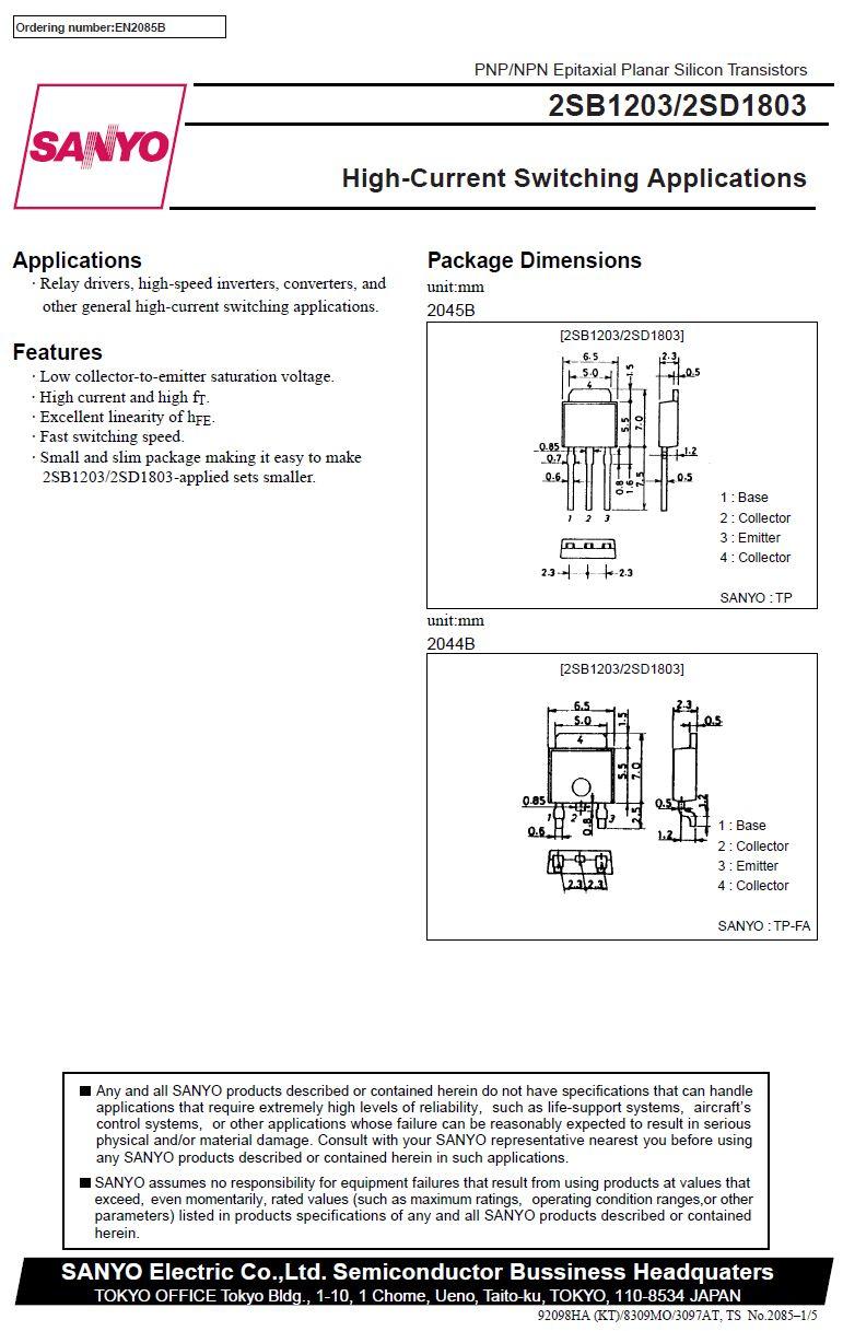 SI-N SMD 60V 5A 20W 130MHz TP-FA 2SD1803 -