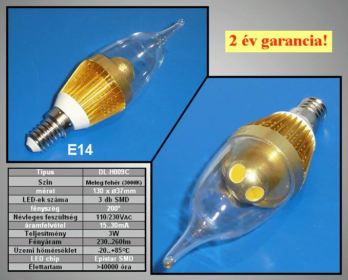 240V 3,0W LED lámpa E14/MF LAMP LED E14WW3W