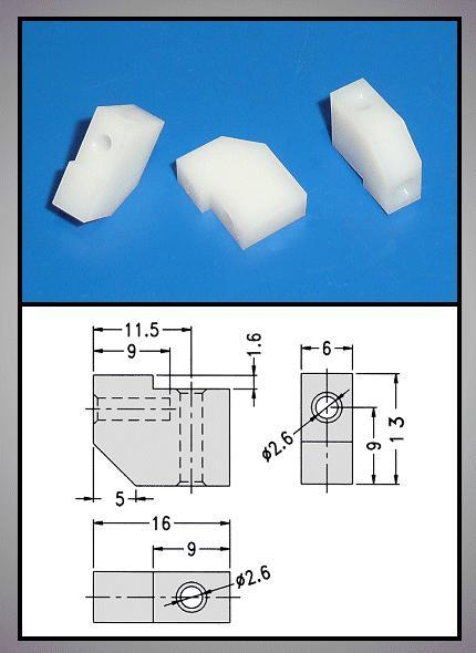Műanyag 90°-os rögzítő elem 16x13x6mm V-0050001