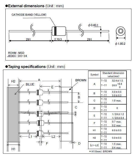 Dióda 80V 0.13A/0.4App <4nS SS 1SS133 1SS133