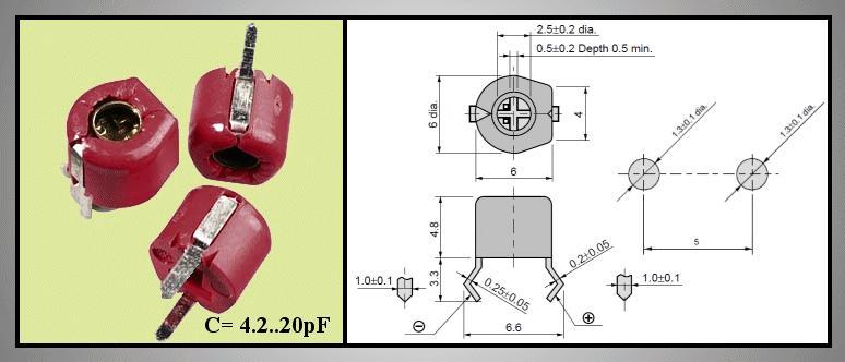 Trimmer kondenzátor, kerámia, 6mm 4.2-20pF 100V C-CT6/4.2-20