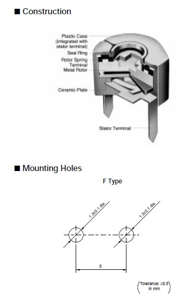 Trimmer kondenzátor, kerámia, mm 6-50pF 50V C-CT6/6.0-50