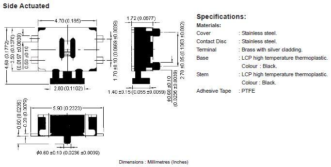 SMD mikrokapcsoló 4.7x3.5mm 4p. gomb:1.0 SW1000S47A