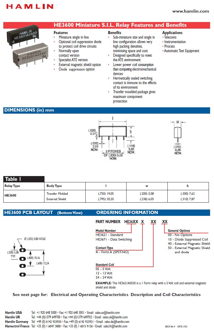 REED 5VDC SPST-NO 1x200VAC/0,5A SIP relé 4p. RELAY-HE3621A0500 -