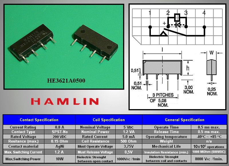 REED 5VDC SPST-NO 1x200VAC/0,5A SIP relé 4p. RELAY-HE3621A0500