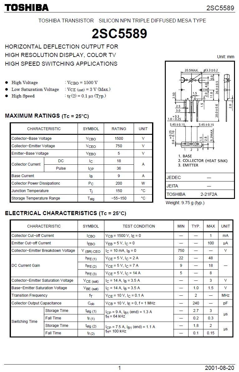 SI-N 1500/750V 18A/36Ap. 200W 0.15uS 2SC5589 -