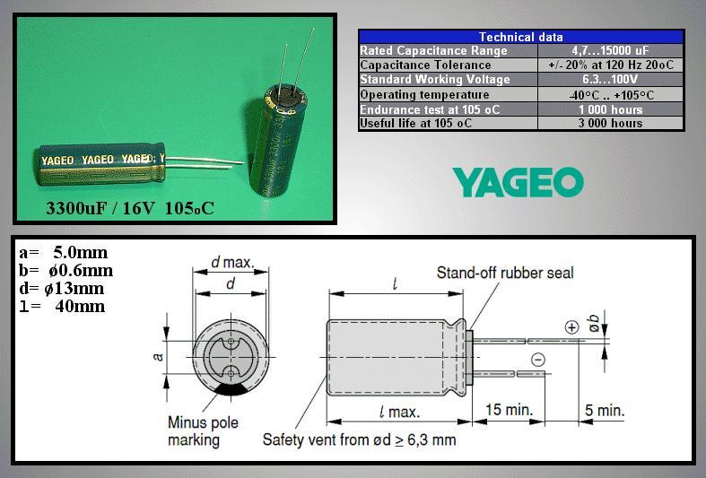 ELKO 3300uF 16V 105°C 13x35 Low-ESR 3300/16P-105ESR Y -