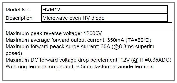 H.V. dióda HVM-12 350mA 12KV MW-D004/2