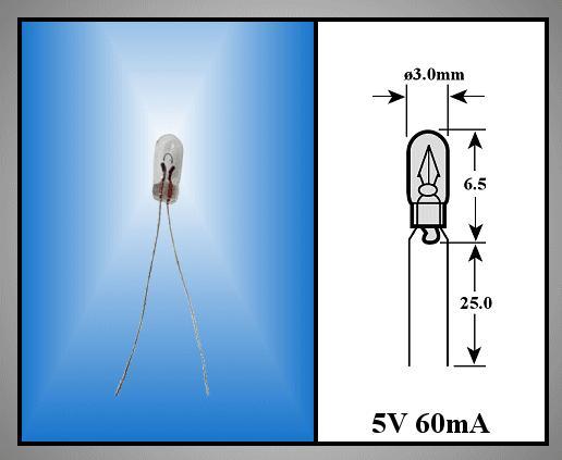 Izzó 3x6.5mm 5V 60mA WT (rizs) LAMP 110/A