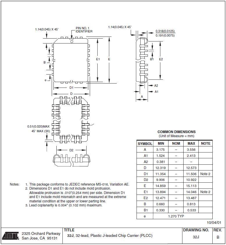 EEPROM 8K x 8 150ns 32p. SMD 28C64B-15JU -