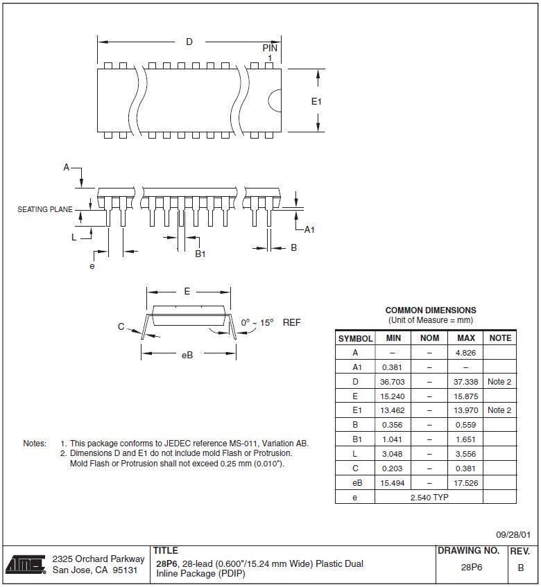 EEPROM 8K x 8 150ns 28p. 28C64B-15PU -