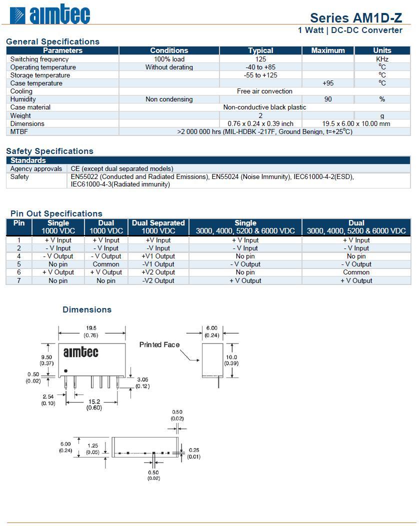 DC/DC átalakító be: 12V ki: +12V, -12VDC 42mA DC12-12D/1W