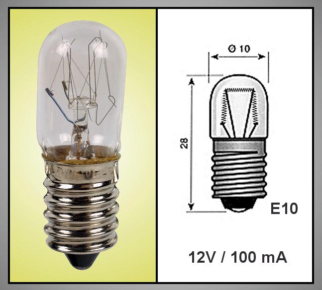 Izzó 12V 100mA TUBULAR E10 LAMP12V/100-B