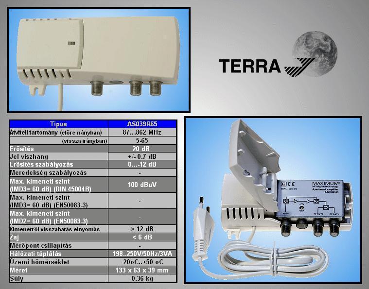 Antenna erősítő 5-65/87-862MHz 2-OUT ANT AMP AS03965