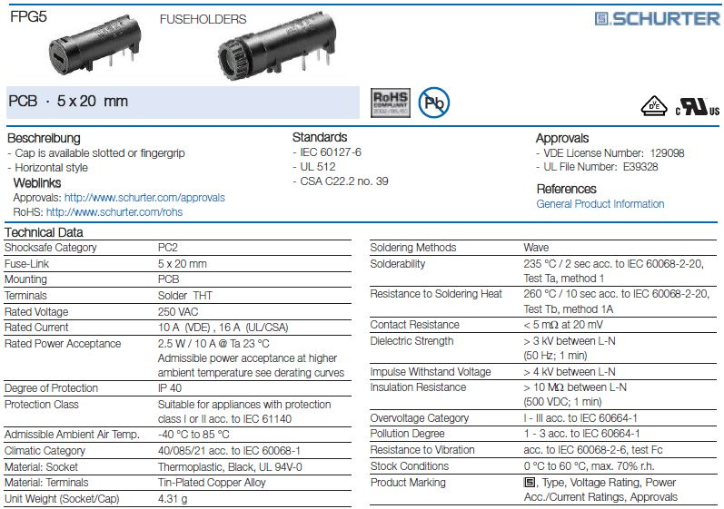 Biztosíték tartó 5x20mm 250V10A PCB 1+2p, ZH8/10HB