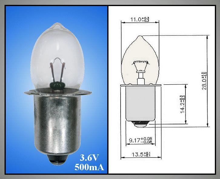 Izzó 3.6V 500mA Peremes KrIpton izzó ( PX13,5S) galléros LAMP3.6V/500-PF