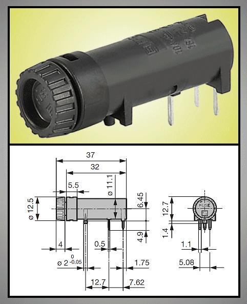 Biztosíték tartó 5x20mm 250V10A PCB 1+2p, ZH8/10HM -