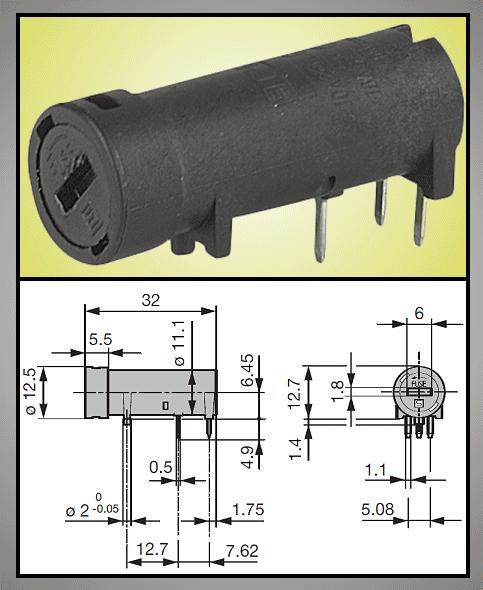 Biztosíték tartó 5x20mm 250V10A PCB 1+2p, ZH8/10HB -