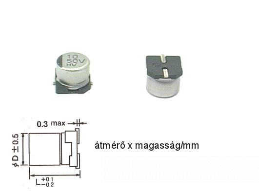 ELKO 10uF 50V 105°C SMD6.3 10/50SMD-105 H