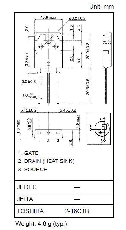 Tranzisztor N-MOSFET+Z 500V 20A IDp:80A 150W 0.21R 2SK4108 2SK4108 -