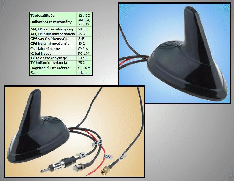 GPS, AM/FM, TV Cápa uszony antenna CAR-ANT.S05