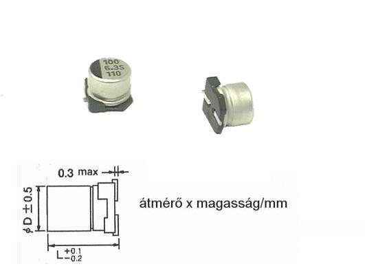 ELKO 100uF 6.3V 105°C SMD6.3 100/6.3SMD-105
