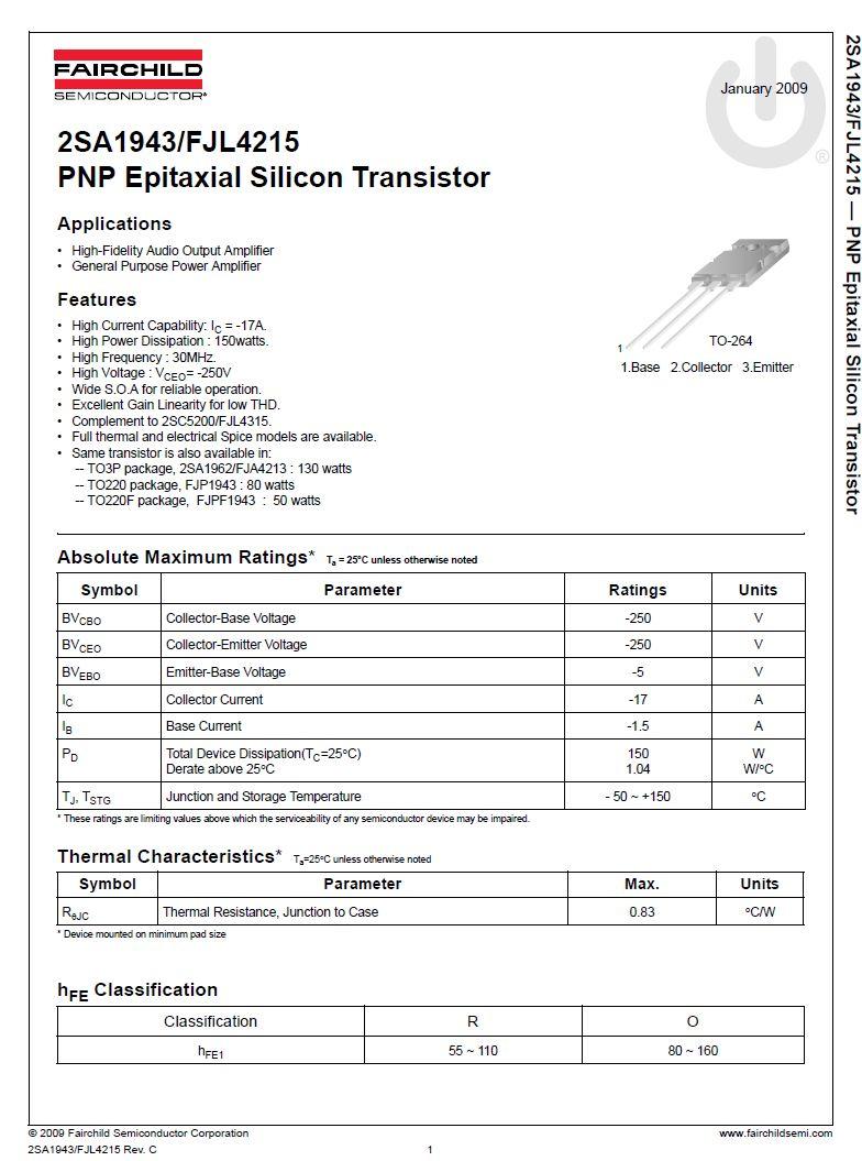 SI-N 250V 17A 150W 30MHz HI-FI FJL4315-O