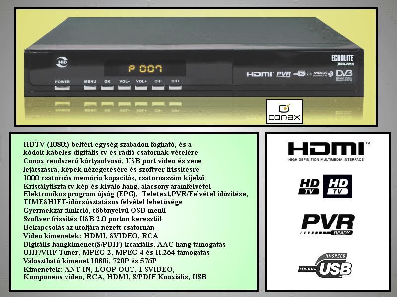 Digitális HD beltéri egység kábel TV-hez Digi Kábel T-Home //ECHOLITE HDC2