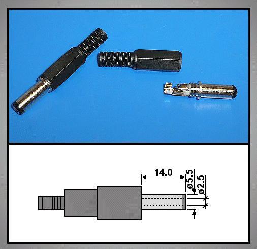 DC dugó L=39mm 5.5x2.5x14mm+T CSAT-P0055/25LT